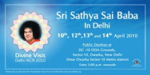 Swami's schedule during New Delhi visit in April 2010.