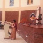 Sister Vijayalakshmi Giving a Speech to the Students